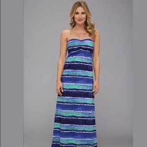 Tommy bahama water waves blue maxi dress small
